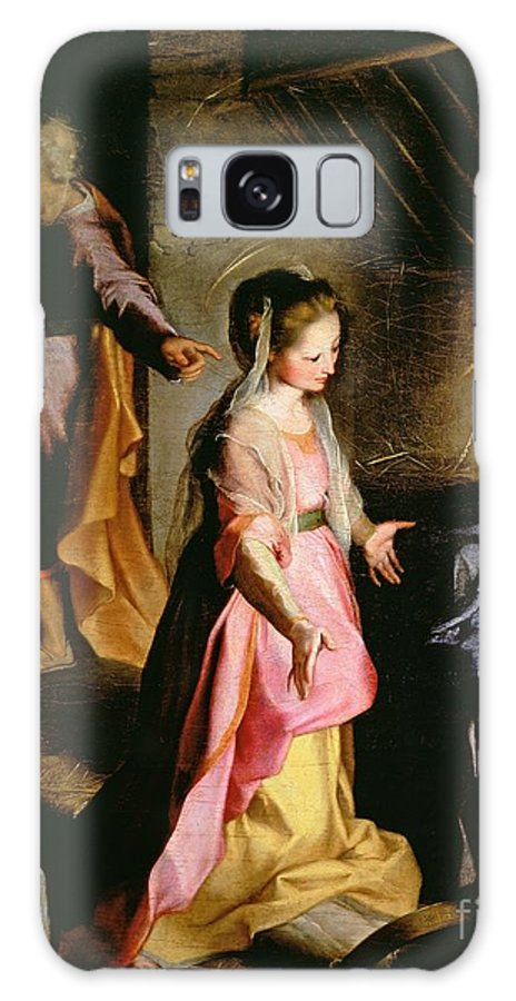 Nativity Galaxy S8 Case featuring the painting The Adoration Of The Child by Federico Fiori Barocci or Baroccio