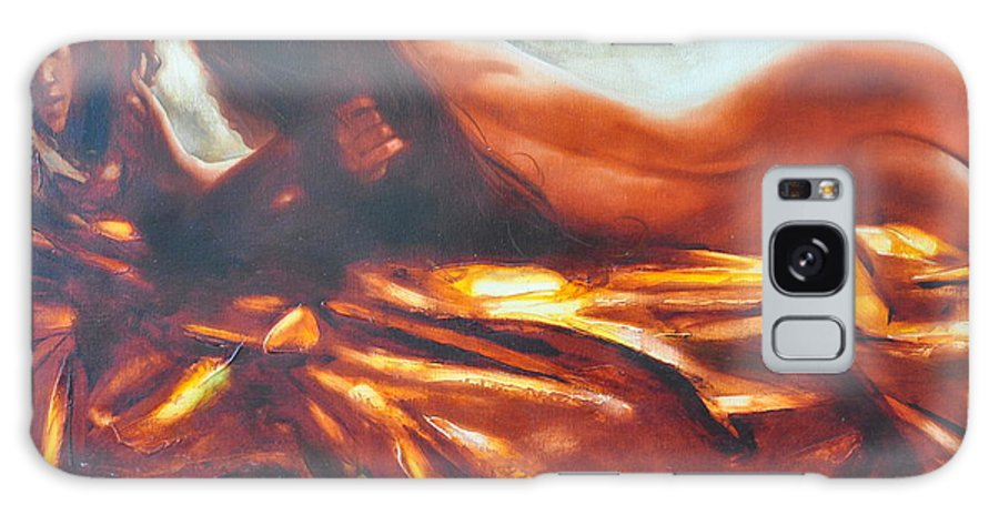 Painting Galaxy Case featuring the painting The Amber Speck Of Light by Sergey Ignatenko