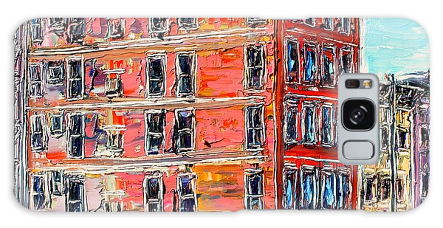 Cityscape Galaxy Case featuring the painting The Apartment Building by J E T I I I