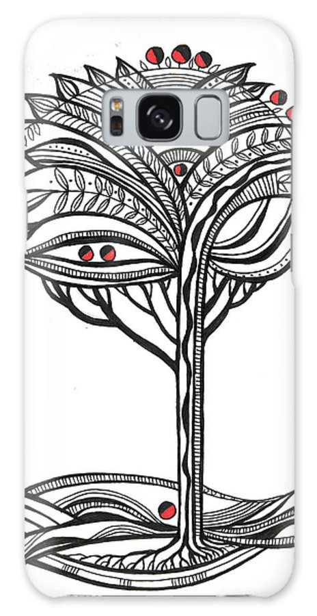 Abstract Galaxy S8 Case featuring the drawing The Apple Tree by Aniko Hencz