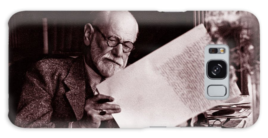 Freud Galaxy Case featuring the photograph The Austrian Neurologist Sigmund Freud At His Desk by Austrian School