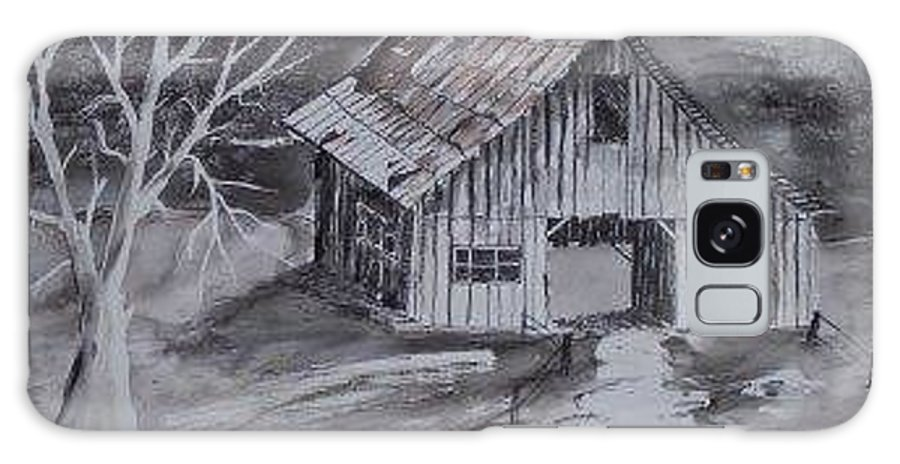 Watercolor Landscape Painting Barn Pen And Ink Painting Drawing Galaxy S8 Case featuring the painting The Barn Country Pen And Ink Drawing by Derek Mccrea