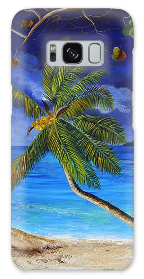 Beach Galaxy S8 Case featuring the painting The Beach At Night by Dominica Alcantara