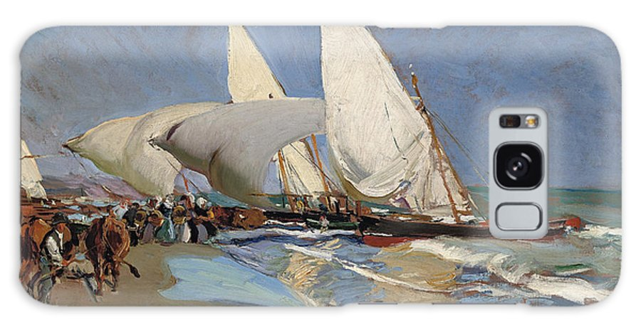 Joaquin Sorolla Y Bastida Galaxy S8 Case featuring the painting The Beach At Valencia by Joaquin Sorolla y Bastida