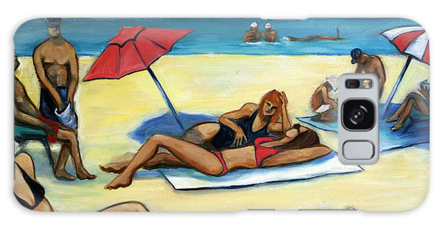 Beach Scene Galaxy Case featuring the painting The Beach by Valerie Vescovi