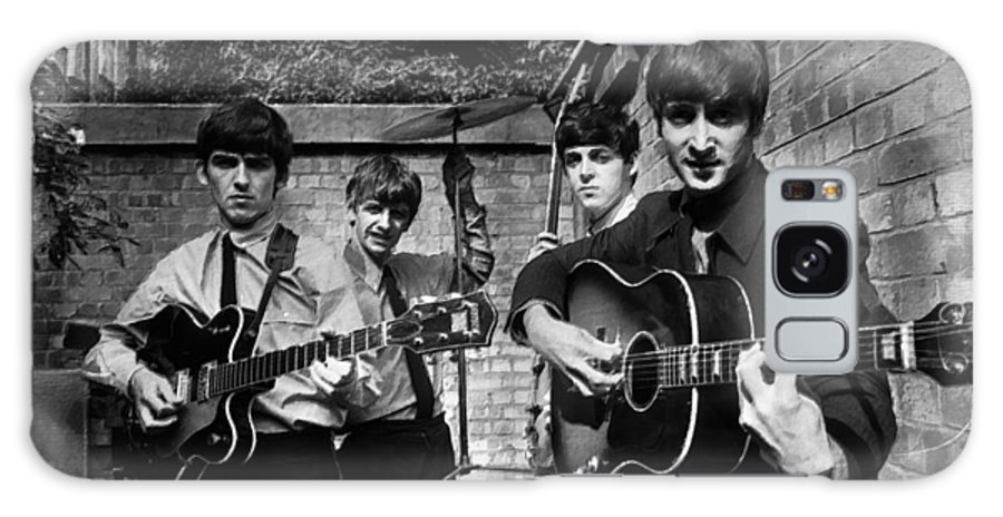 The Beatles Galaxy Case featuring the painting The Beatles In London 1963 Black And White Painting by Tony Rubino