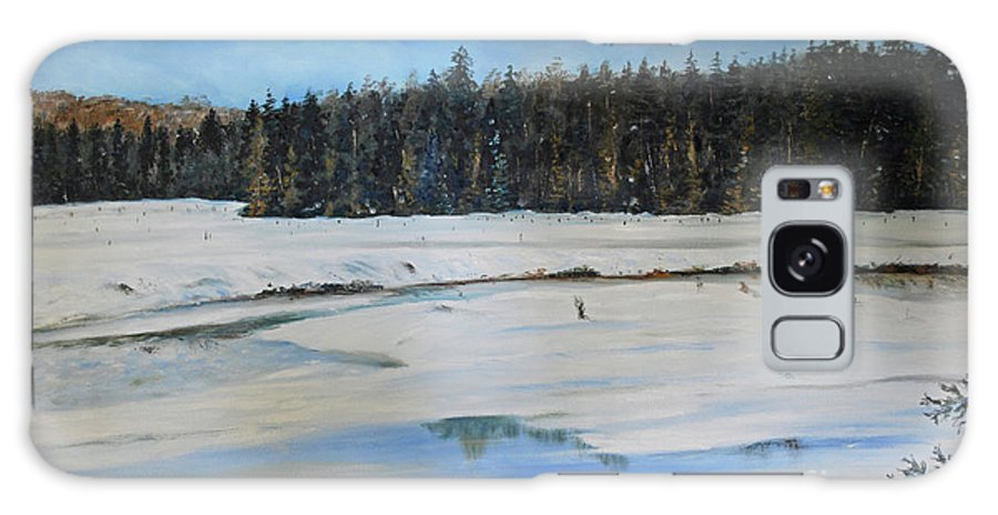 Snow Galaxy S8 Case featuring the painting The Beaver Pond In Winter by Stanton Allaben