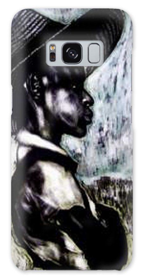 Portrait Galaxy Case featuring the mixed media The Berry Picker by Chester Elmore