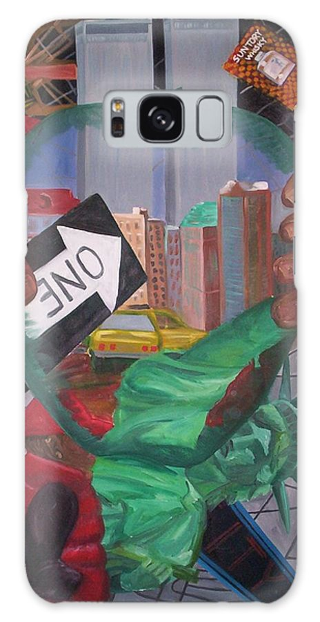 New York Galaxy S8 Case featuring the painting The Big Apple by Lauren Luna