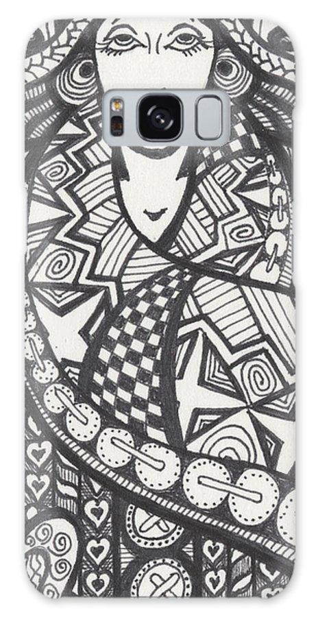 Zentangle Galaxy S8 Case featuring the drawing The Big Overcoat by Amy S Turner