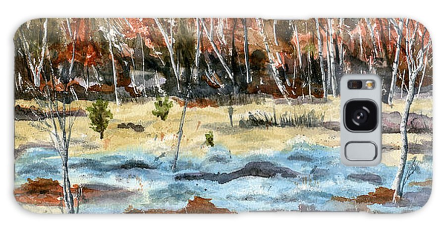 Landscape Galaxy S8 Case featuring the painting The Blue Bog by Mary Tuomi