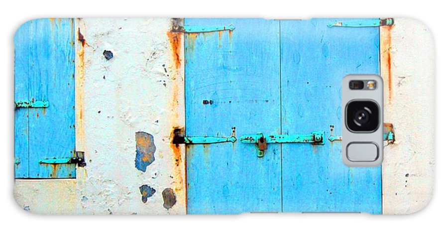 Door Galaxy S8 Case featuring the photograph The Blue Door Shutters by Debbi Granruth