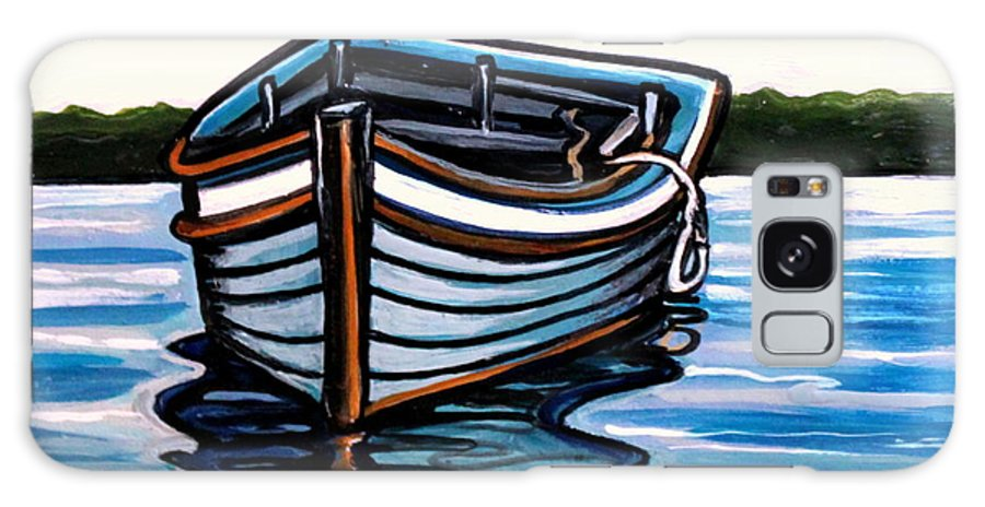 Blue Galaxy S8 Case featuring the painting The Blue Wooden Boat by Elizabeth Robinette Tyndall