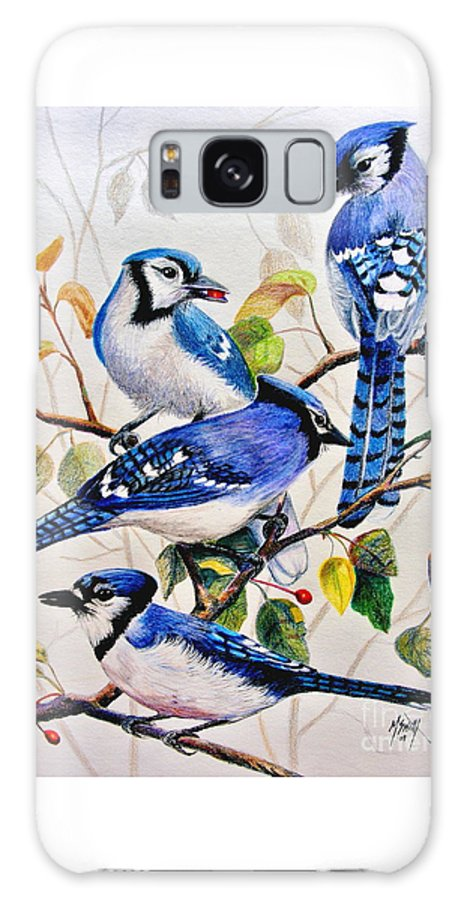 Bluejays Galaxy S8 Case featuring the drawing The Blues by Marilyn Smith