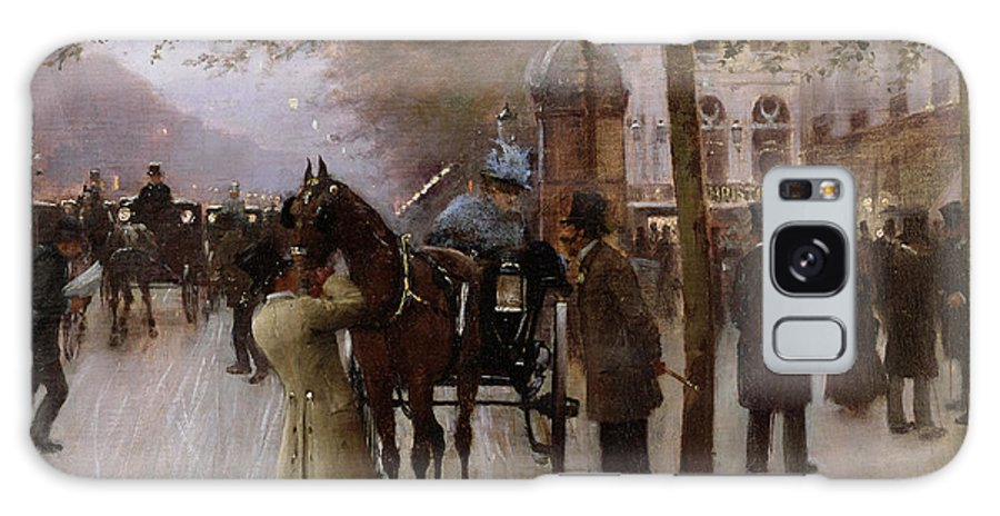 Traffic Galaxy S8 Case featuring the painting The Boulevards by Jean Beraud