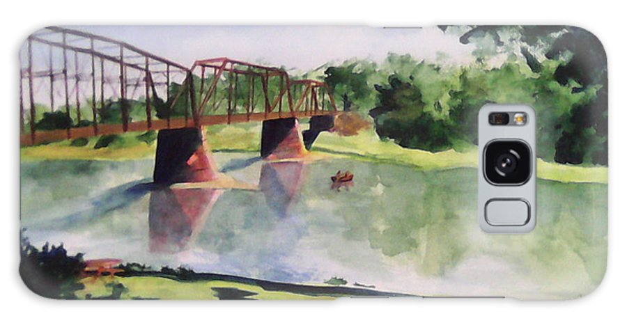 Bridge Galaxy S8 Case featuring the painting The Bridge At Ft. Benton by Andrew Gillette