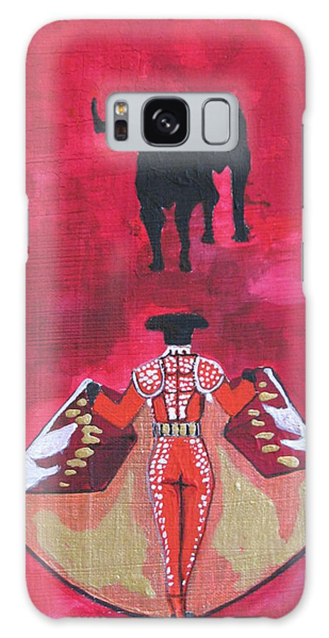 Spanish Art Galaxy Case featuring the painting The Bull Fight No.1 by Patricia Arroyo