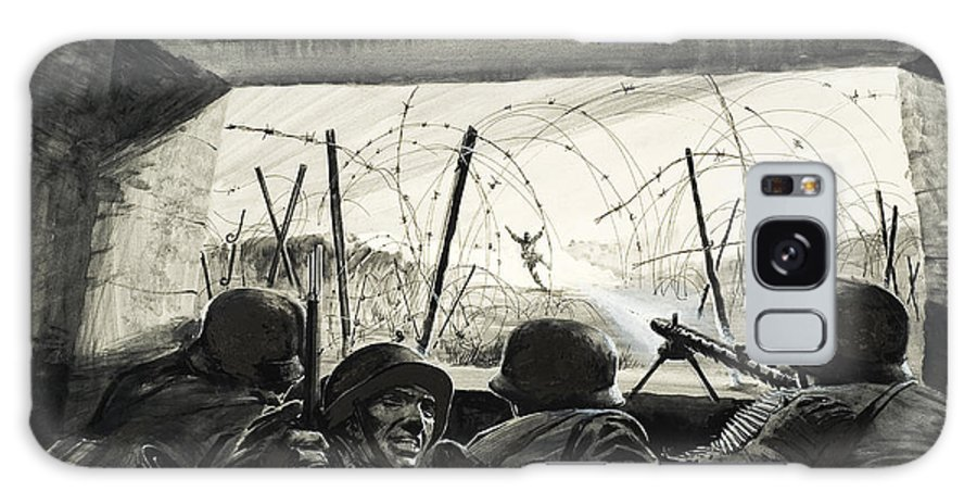 Barbed Wire; Machine Gun; Warfare; Fighting; Fear; Bravery; Soldiers; Ammunition; Uniform; Explosion; Gunfire; Second; Two Galaxy S8 Case featuring the painting The Bunker by Graham Coton