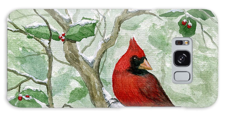 Cardinal Galaxy S8 Case featuring the painting The Cardinal by Mary Tuomi