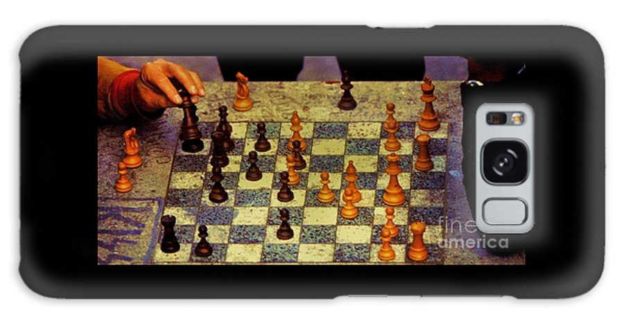 Chess Art Hands Outdoors New York Scene Vintage Film Shot Whimsical Capture City Life Unique Moment Kodak Stock Game Board Canvas Print Wood Print Metal Frame Poster Print Available On Tote Bags Pouches T Shirts Greeting Cards Invitation To A Game Card Shower Curtains Tote Bags Mugs And Phone Cases Galaxy S8 Case featuring the photograph The Chess Game, New York City C. 1977 by Poet's Eye