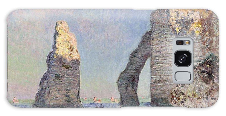 The Cliffs At Etretat Galaxy Case featuring the painting The Cliffs at Etretat by Claude Monet