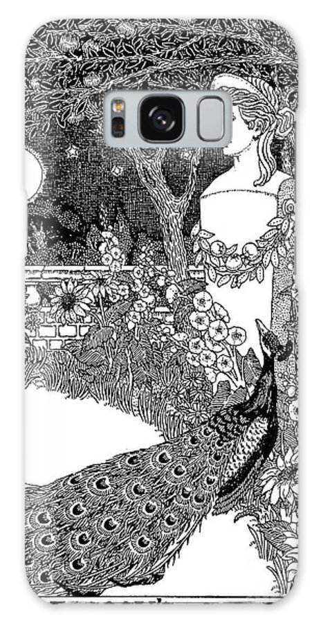 Peacock Galaxy S8 Case featuring the drawing The Complaint Of The Peacock Scene From Aesop's Fables by Percy J Billinghurst