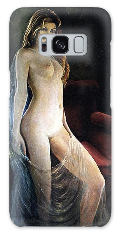 Nude Galaxy Case featuring the painting The Coquette Adolescent by Vasilis Bottas