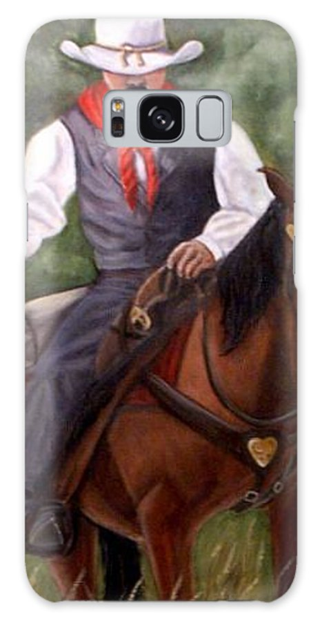 Portrait Galaxy Case featuring the painting The Cowboy by Toni Berry