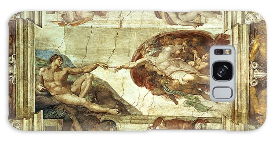 The Creation Of Adam Galaxy Case featuring the painting The Creation Of Adam by Michelangelo