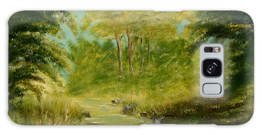 Water River Creek Nature Trees Landscape Galaxy Case featuring the painting The Creek by Veronica Jackson
