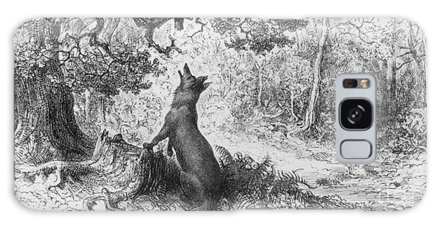The Crow And The Fox Galaxy S8 Case featuring the drawing The Crow And The Fox by Gustave Dore