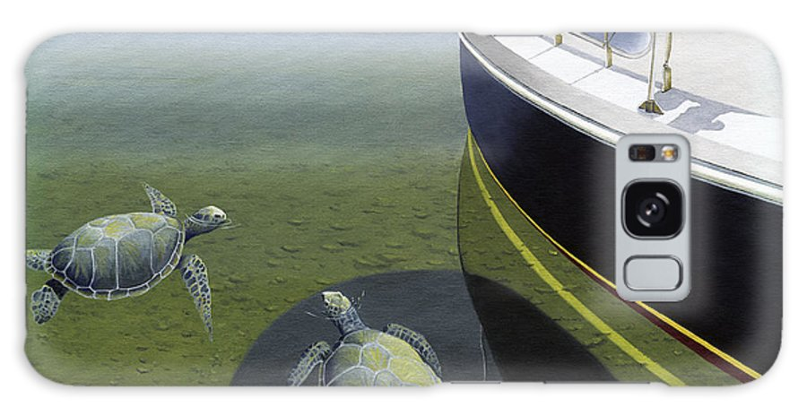 Sail Boat Galaxy Case featuring the painting The Curiosity Of Sea Turtles by Gary Giacomelli