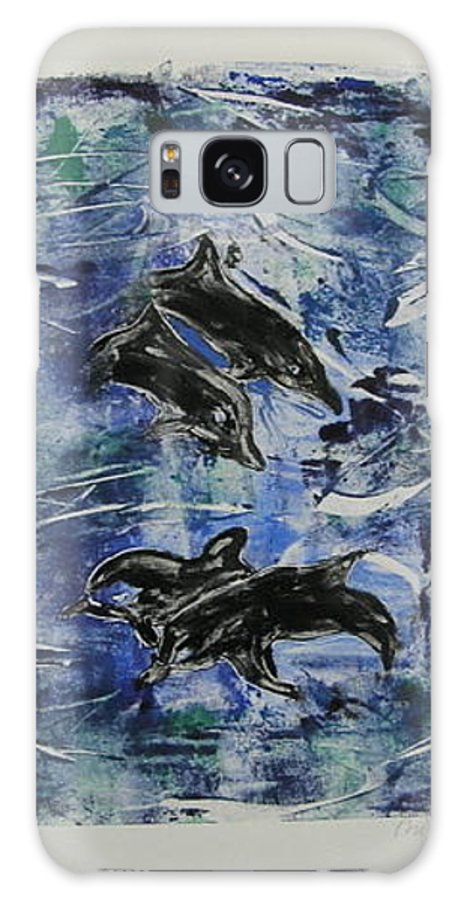 Monotype Galaxy S8 Case featuring the mixed media The Deep Sea by Cori Solomon