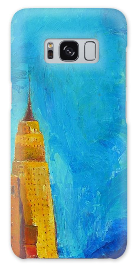Abstract Cityscape Galaxy S8 Case featuring the painting The Empire State by Habib Ayat
