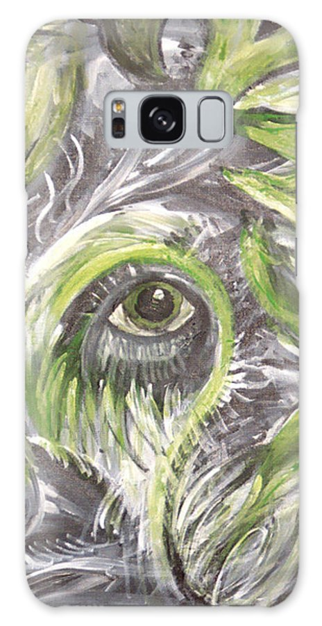 Green Galaxy S8 Case featuring the painting The Eye by Jessica Kauffman