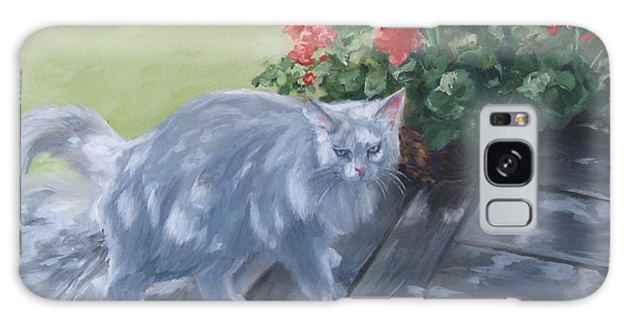 Cat Galaxy S8 Case featuring the painting A Feral Cloud by Connie Schaertl
