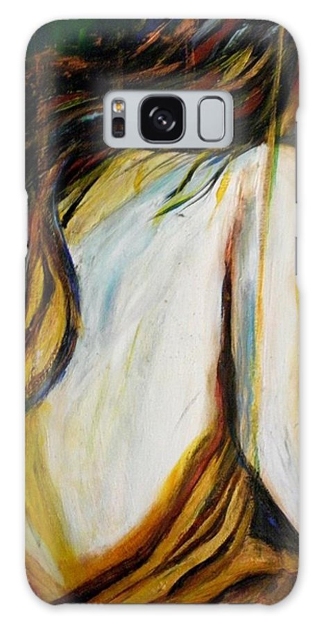 #abstract Galaxy S8 Case featuring the painting The Fighter by Linda Waidelich