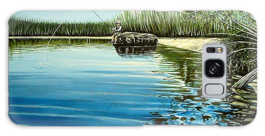 Landscape Galaxy S8 Case featuring the painting The Fisherman by Elizabeth Robinette Tyndall