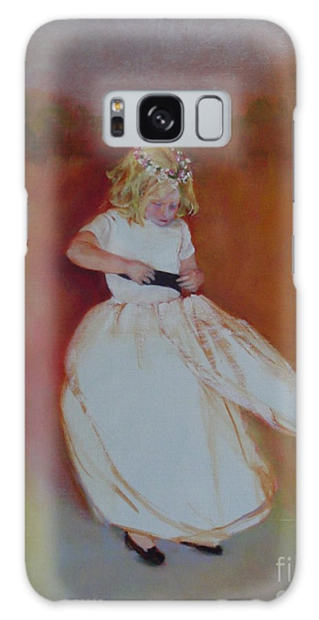Contemporary Portrait Galaxy Case featuring the painting The Flower Girl Copyrighted by Kathleen Hoekstra