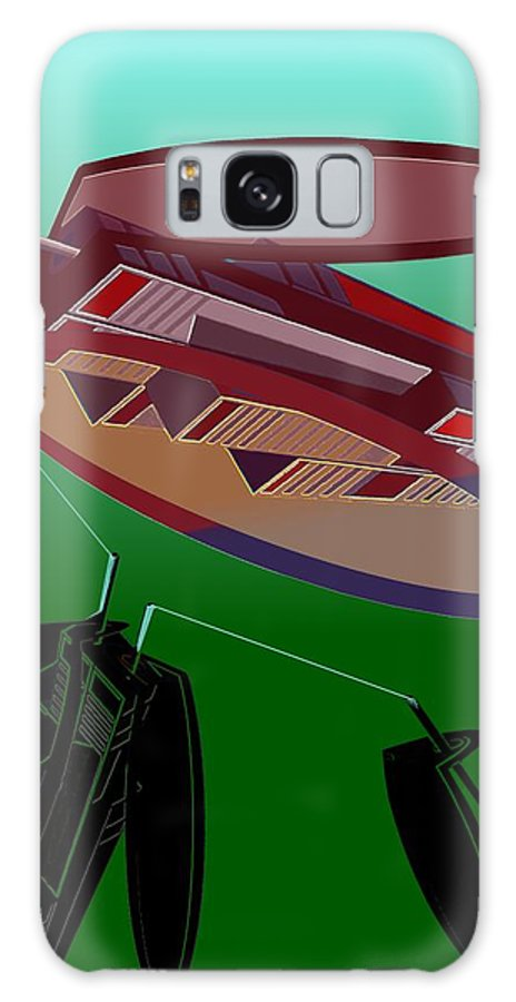 Fly Galaxy Case featuring the digital art The Flying Skyscraper by Helmut Rottler
