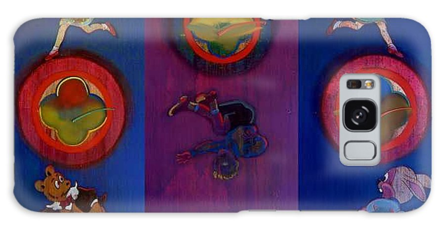 The Drums Of The Fruit Machine Stop At Random. Triptych Galaxy S8 Case featuring the painting The Fruit Machine Stops II by Charles Stuart