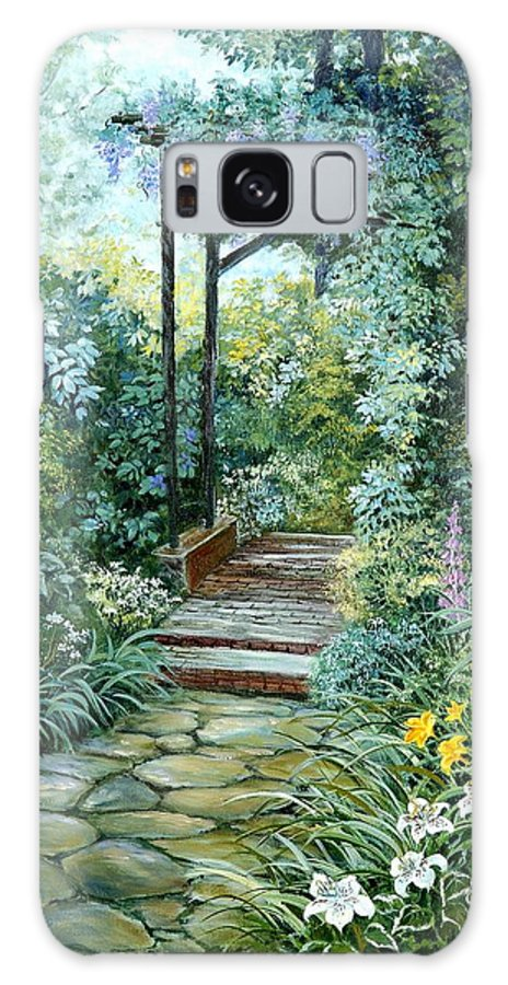 Oil Painting;wisteria;garden Path;lilies;garden;flowers;trellis;trees;stones;pergola;vines; Galaxy S8 Case featuring the painting The Garden Triptych Right Side by Lois Mountz