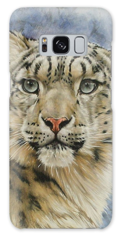 Snow Loepard Galaxy Case featuring the mixed media The Gaze by Barbara Keith