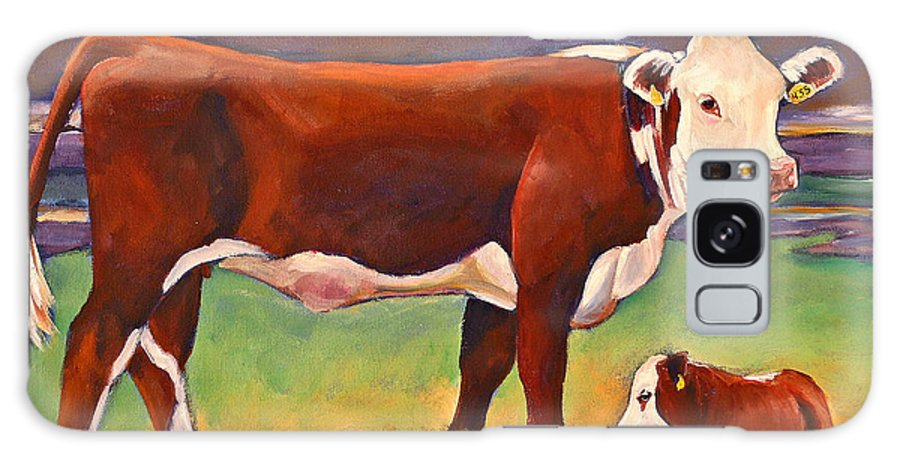 Folk Art Galaxy S8 Case featuring the painting The Good Mom Folk Art Hereford Cow And Calf by Toni Grote