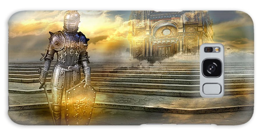 Guardian Knight Palace Court Surrealism Sky Clouds Shield Magic Aerial Castle Fairytales Fantastic Galaxy S8 Case featuring the photograph The Guardian Of The Celestial Palace by Desislava Draganova