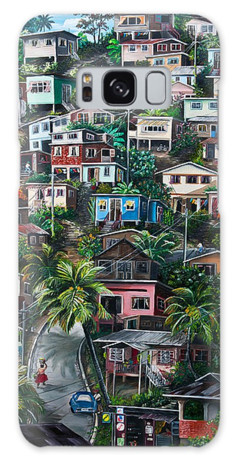 Landscape Painting Cityscape Painting Houses Painting Hill Painting Lavantille Port Of Spain Painting Trinidad And Tobago Painting Caribbean Painting Tropical Painting Caribbean Painting Original Painting Greeting Card Painting Galaxy Case featuring the painting THE HILL   Trinidad by Karin Dawn Kelshall- Best