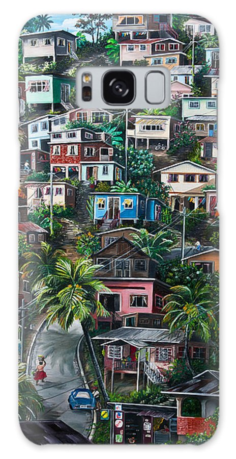 Landscape Painting Cityscape Painting Houses Painting Hill Painting Lavantille Port Of Spain Painting Trinidad And Tobago Painting Caribbean Painting Tropical Painting Caribbean Painting Original Painting Greeting Card Painting Galaxy S8 Case featuring the painting The Hill   Trinidad by Karin Dawn Kelshall- Best