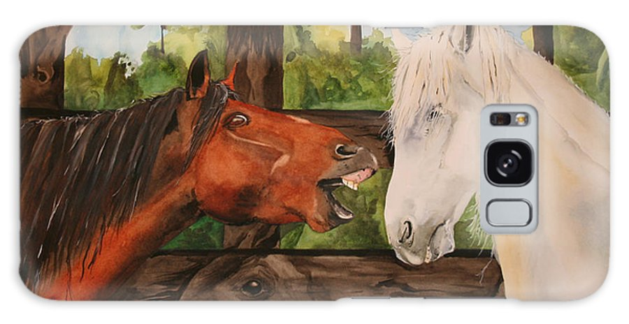 Horse Galaxy Case featuring the painting The Horse Whisperers by Jean Blackmer