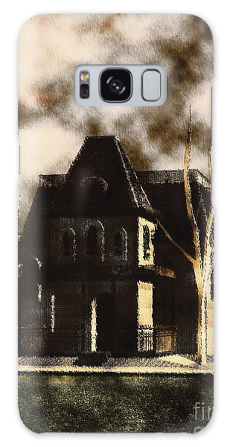 Horror Galaxy S8 Case featuring the painting The House From Psycho by Mary Bassett