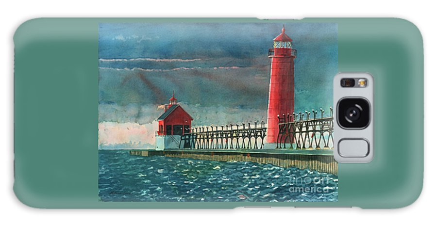 Lighthouses Galaxy Case featuring the painting The Impending Storm by LeAnne Sowa